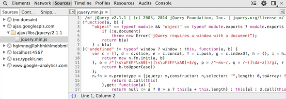 Screenshot of jquery minified with pretty print.
