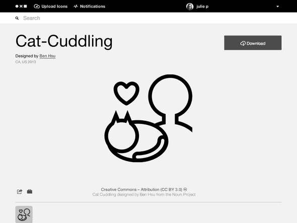 Cat Cuddling example from The Noun Project