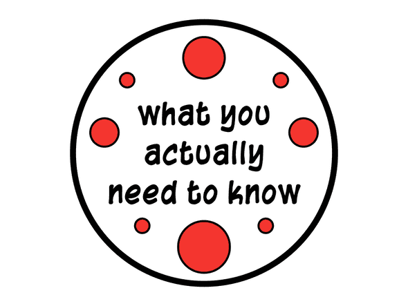 Partially filled circle that says 'what you actually need to know'