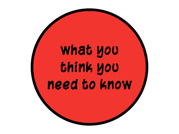 Filled circle that says 'what you think you need to know'