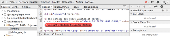 Screenshot of developer tools line of js error.