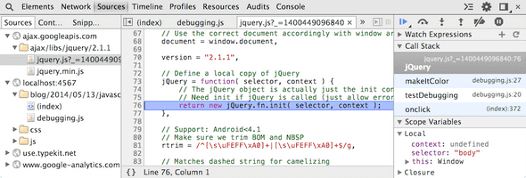 Screenshot of debugging jQuery.